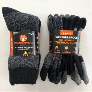 Weatherproof Ultimate Thermal Crew Socks Black NWT